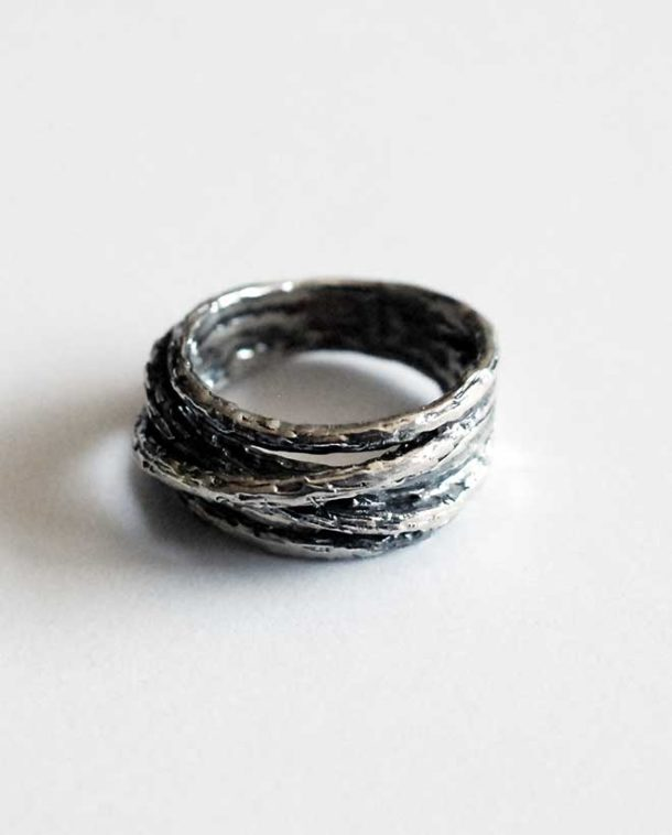 silver edgy ring