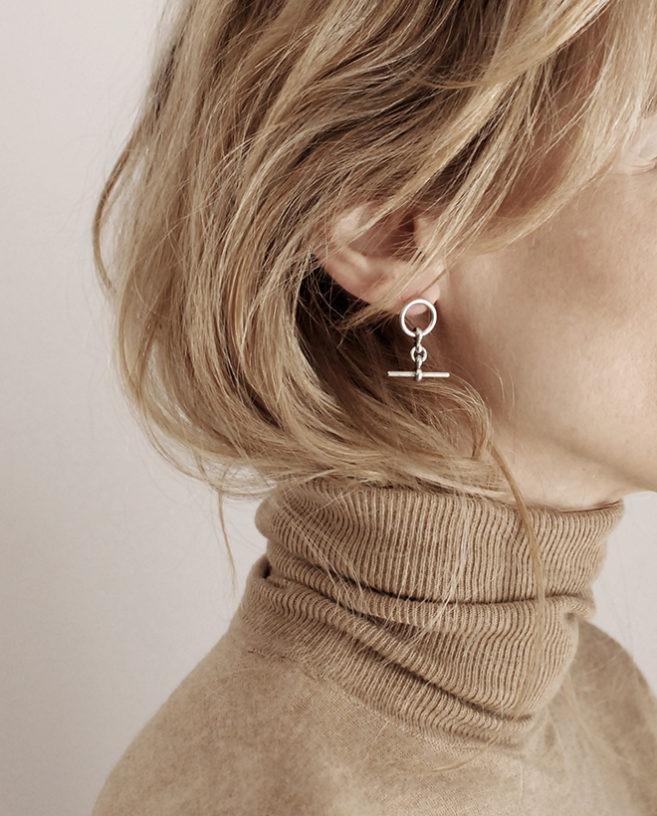 modern silver earrings