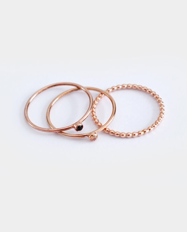 rose gold stacking rings