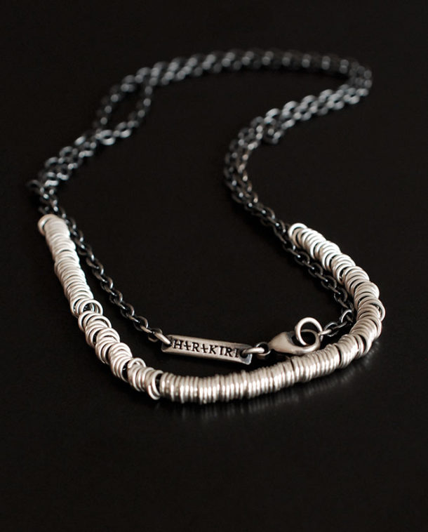 multi rings silver necklace