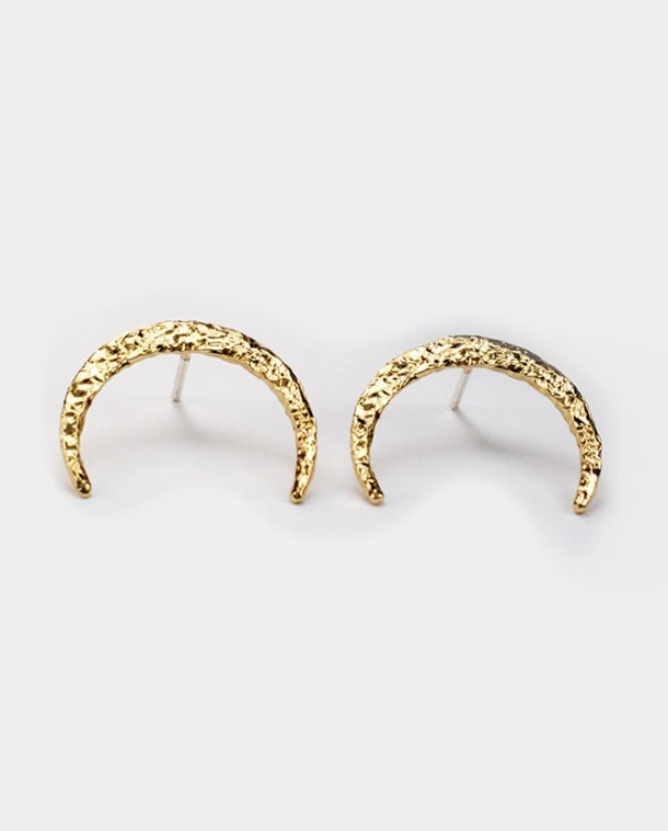 yellow gold cresent earrings