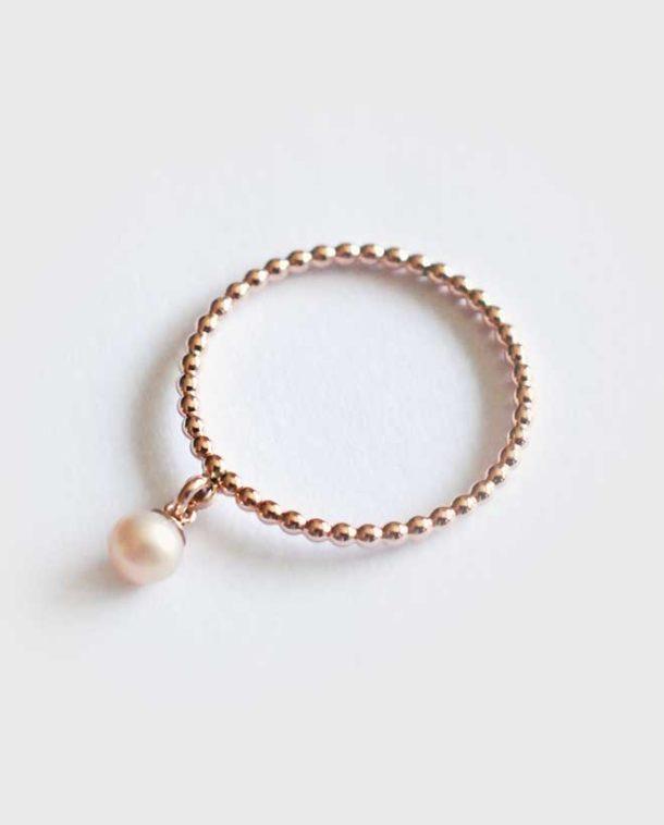 bague or rose et perle