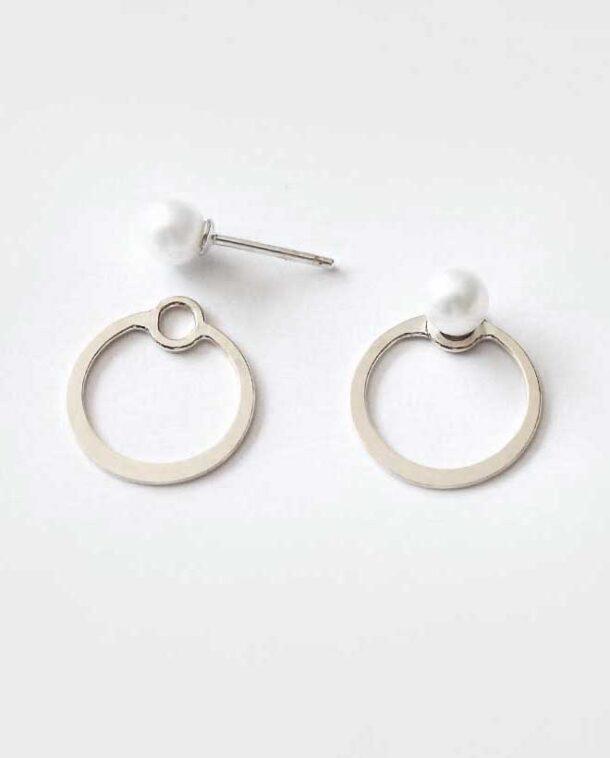minimalist silver earrings with pearl
