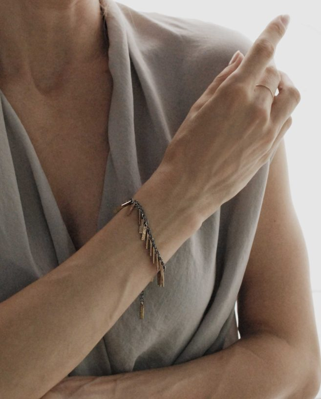 silver and bronze bracelet