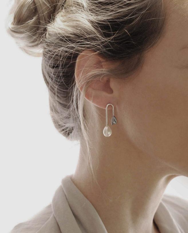 boucles d'oreilles contemporaines perles