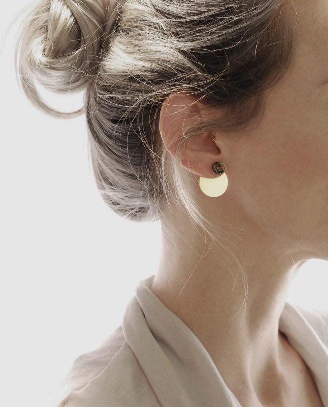 boucles d'oreilles manteau or et pierre