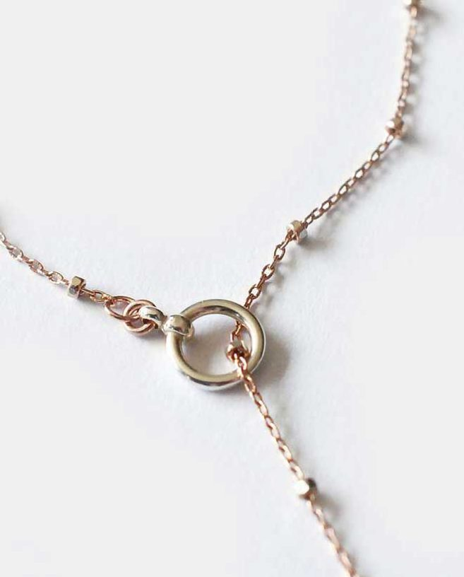 collier lariat or rose